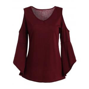 Cold Shoulder Asymmetric Flare Sleeve Top