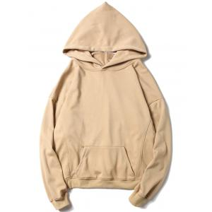 Drop Shoulder Side Slit Kangaroo Pocket Hoodie