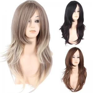 Long Side Bang Layered Natural Straight Colormix Synthetic Wig - Light Gold