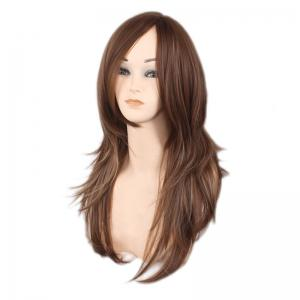 Long Side Bang Layered Natural Straight Colormix Synthetic Wig