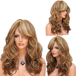 Long Side Bang Shaggy Layered Curly Colormix Synthetic Wig