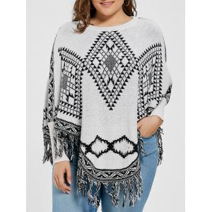 Geometric Fringed Plus Size Poncho Sweater