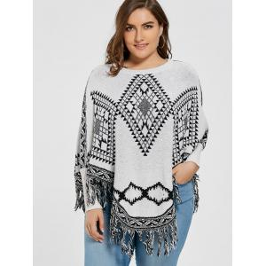 Geometric Fringed Plus Size Poncho Sweater -