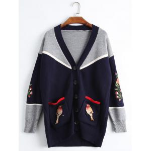 Bird Embroidered Drop Shoulder Plus Size Cardigan
