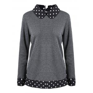 Polka Dot Faux Twinset Plus Size Knitwear