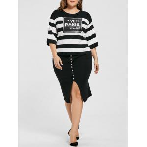 Plus Size Striped Drop Shoulder Knitwear and Slit Skirt - Black - 4xl