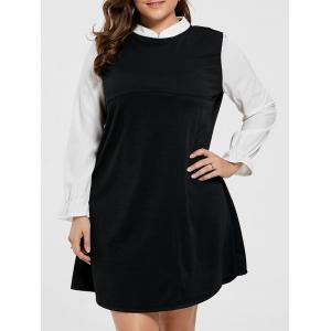 Plus Size Knee Length Ruffle Dress - Black - 5xl