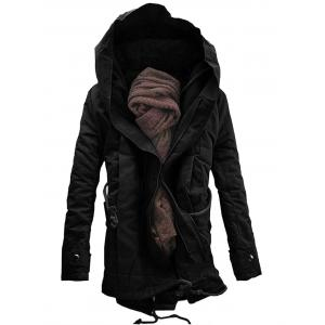Double Zip Up Hooded Padded Parka Coat