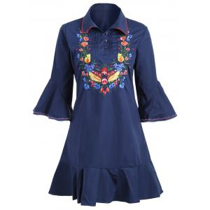 Plus Size Bell Sleeve Floral Embroidered Dress - Purplish Blue - 3xl