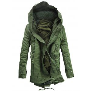 Double Zip Up Hooded Padded Parka Coat - Army Green - M