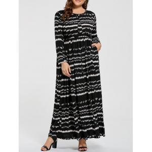 Plus Size Striped Elastic Waist Long Sleeve Maxi Dress