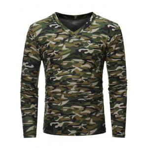 Camouflage V Neck Long Sleeve T-shirt