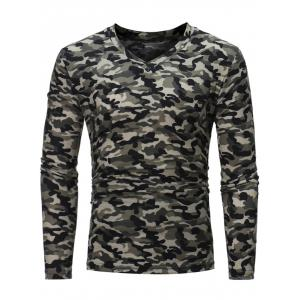 Camouflage Pattern Long Sleeve T-shirt - Black - M