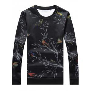 Crew Neck Birds Print Sweatshirt