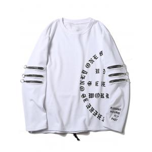 String Design Zip Sleeve Graphic Sweatshirt