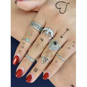 Triangle Hexagon Moon Vintage Ring Set