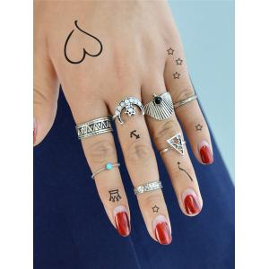 Triangle Hexagon Moon Vintage Ring Set -