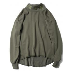 Embroidered High Neck High Low Sweatshirt - Army Green - S