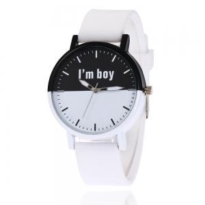 Boy Letter Face Silicone Strap Watch - White