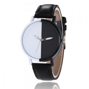 Color Block Face Faux Leather Strap Watch