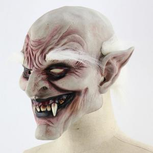 White Brow Monster Printed Halloween Mask With Wig - WHITE