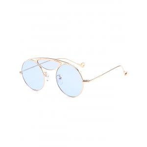 Metallic Camber Crossbar Round Sunglasses