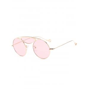 Metallic Camber Crossbar Round Sunglasses - Light Pink