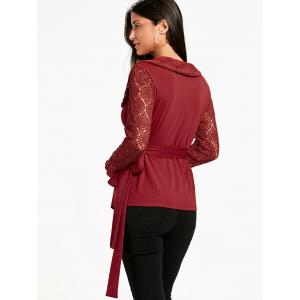 Plunging Neck Long Sleeve Lace Panel Wrap Top -