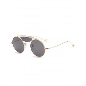 Metallic Camber Crossbar Round Sunglasses - Black