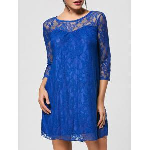 Stylish Round Collar 3/4 Sleeve Lace Spliced See-Through Women's Dress