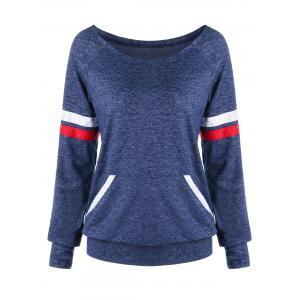 Striped Convertible Neck Kangaroo Pocket Sweatshirt