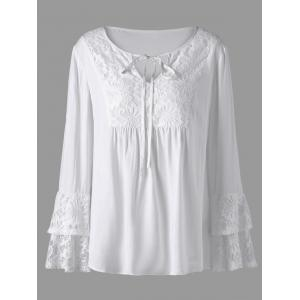 Plus Size Layered Sleeve Lace Trim Blouse - White - 4xl