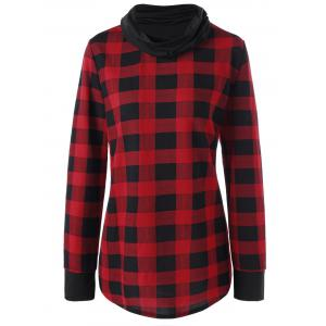 Plus Size Plaid Cowl Neck Long Sleeve Top - Red With Black - 5xl