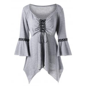 Plus Size Flare Sleeve Lace Up Tee - Light Gray - 3xl
