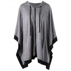 Hooded Zip Up Plus Size Cape Coat