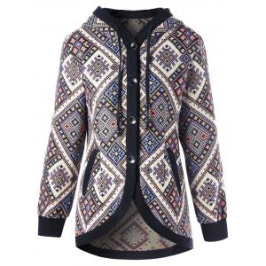 Hooded Buttons Geometric Coat