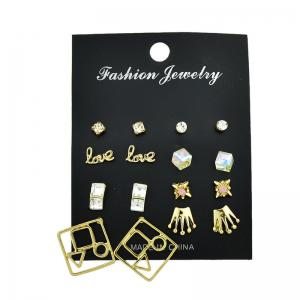 Rhinestone Crown Love Stud Earring Set