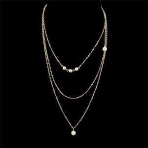 Faux Pearl Chain Layered Pendant Necklace - Golden
