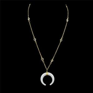 Gypsy Moon Chain Pendant Necklace - Golden