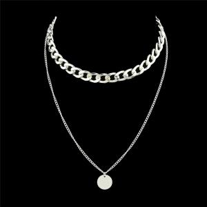 Round Disc Layered Pendant Chain Necklace