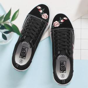 Flower Embroidered Canvas Shoes - BLACK 37