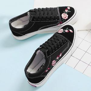 Flower Embroidered Canvas Shoes - BLACK 38