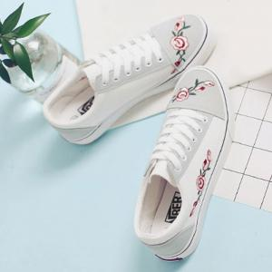 Flower Embroidered Canvas Shoes - WHITE 39