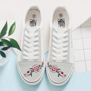 Flower Embroidered Canvas Shoes - WHITE 38