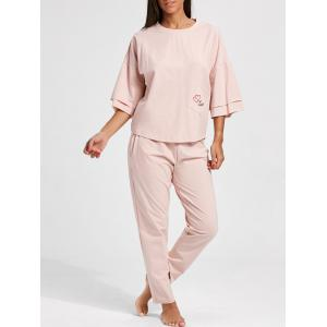 Pajamas Pocket Batwing Sleeve Set - Light Pink - Xl