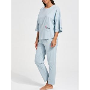 Pajamas Pocket Batwing Sleeve Set