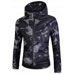 Zip Up Camouflage Print Mesh Windbreaker