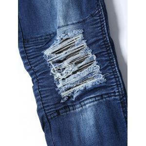 Slim Fit Distressed Biker Jeans - Bleu 36