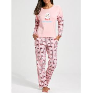 Pullover Long Sleeves Printed PJ Set - Light Pink - 2xl
