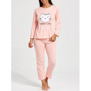 Cat Graphics Long Sleeves Sleepwear Set